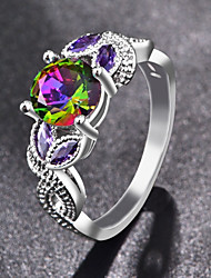 cheap -Women's Band Rings Knuckle Ring Cubic Zirconia Classic Fashion Colorful Zircon Alloy Geometric Jewelry Party Gift