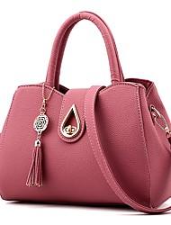 Mulher Bolsas Couro Ecológico Tote Botões Caixilhos / Fitas Ziper para Compras Casual Todas as Estações Azul Preto Vermelho Rosa