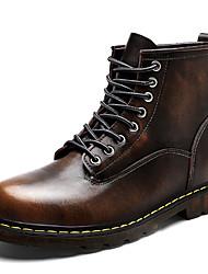 baratos -Homens sapatos Pele Inverno Outono Coturnos Conforto Botas Botas Cano Médio para Casual Escritório e Carreira Preto Cinzento Marron Vinho