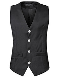 cheap -Men's Daily Vintage Fall Vest,Solid V Neck Sleeveless Regular Others
