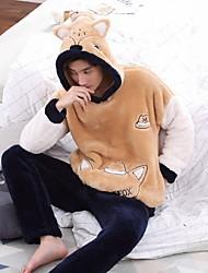 baratos -Homens Conjunto Pijamas,Estampado Estampado Cashmere Laranja