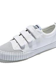 preiswerte -Damen Schuhe Leinwand Frühling Herbst Komfort Sneakers Flacher Absatz Geschlossene Spitze für Draussen Weiß Schwarz Rosa