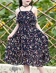 cheap -Girl's Going out Floral Dress,Polyester Summer Sleeveless Boho Navy Blue