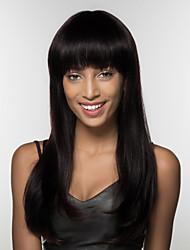 economico -Parrucche senza cappuccio per capelli umani Cappelli veri Kinky liscia Attaccatura dei capelli naturale Lungo A macchina Parrucca Per