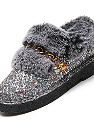 cheap -Women's Shoes Flocking PU Winter Fall Comfort Loafers & Slip-Ons Null Flat Heel Round Toe Null / for Casual Silver Black Gold