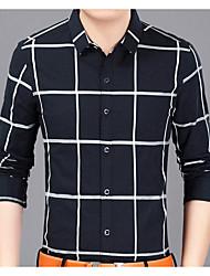 Masculino Camisa Social Casual Moda de Rua Todas as Estações,Quadriculada Poliéster Colarinho de Camisa Manga Comprida Opaca
