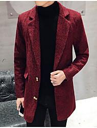メンズ お出かけ カジュアル/普段着 冬 秋 コート,シンプル シャツカラー 水玉 ロング ポリエステル 長袖