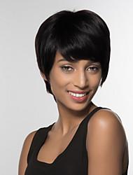abordables -Perruques capless à cheveux humains Cheveux humains Droit Partie latérale Court Fabriqué à la machine Perruque Femme