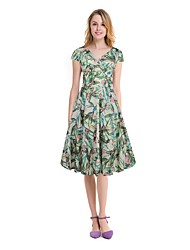 cheap -Women's Daily Beach Boho A Line Swing Dress,Floral V Neck Knee-length Short Sleeve Cotton Polyester Elastane Spring Summer Mid Rise