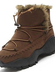 Недорогие -Жен. Обувь Кашемир Зима Зимние сапоги Ботинки На толстом каблуке Круглый носок Сапоги до середины икры для Повседневные Черный Серый