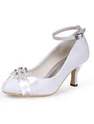 preiswerte -Damen Schuhe Seide Frühling Sommer Pumps Hochzeit Schuhe Konischer Absatz Geschlossene Spitze Strass Schleife Imitationsperle für