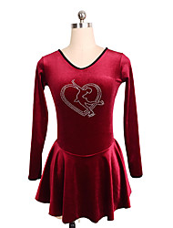 cheap -Figure Skating Dress Women's Girls' Ice Skating Dress Pink Red Spandex Inelastic Performance Practise Skating Wear Solid Long Sleeves Ice