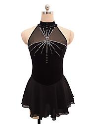abordables -Robe de Patinage Artistique Femme Fille Patinage Robes Noir Spandex Non Elastique Utilisation Exercice Tenue de Patinage Couleur Pleine