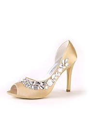 Недорогие -Для женщин Обувь Шёлк Весна Лето Туфли лодочки Свадебная обувь На шпильке Открытый мыс Круглый носок Аппликация для Свадьба Для вечеринки