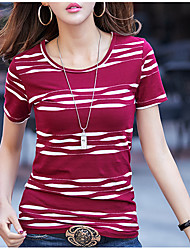 cheap -Women's Daily Casual Summer T-shirt,Print Round Neck Short Sleeve Cotton Opaque