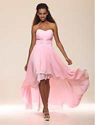 cheap -A-Line Strapless Asymmetrical Chiffon Prom / Formal Evening Dress with Beading Pleats by TS Couture®
