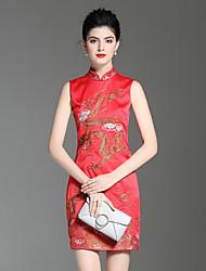 abordables -Trapèze Gaine Robe Soirée Vacances Sophistiqué Chinoiserie,Fleur Mao Au dessus du genou Sans Manches Polyester Printemps Eté Taille