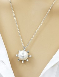 cheap -Women's Circle Shape Fashion Sweet Pendant Necklace Chain Necklace Imitation Pearl Silver Plated Gold Plated Pendant Necklace Chain