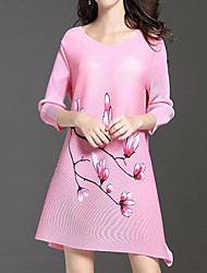 cheap -Women's Going out Simple A Line Dress,Print Round Neck Above Knee Long Sleeve Cotton Spring Fall Mid Rise Micro-elastic Opaque