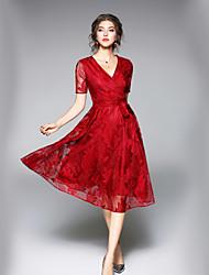 Недорогие -Жен. Офис Уличный стиль А-силуэт Платье - Однотонный V-образный вырез Средней длины