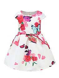 abordables -Robe Fille de Quotidien Sortie Couleur Pleine Fleur Papillon Coton Printemps Eté Manches Courtes Mignon Actif Princesse Rouge