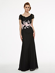 cheap -Sheath / Column Scoop Neck Floor Length Chiffon Lace Mother of the Bride Dress with Appliques Lace Pleats by LAN TING BRIDE®