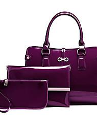 baratos -Mulheres Bolsas PU Conjuntos de saco 3 Pcs Purse Set Ziper Preto / Vermelho / Roxo