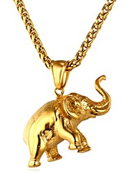 cheap -Men's / Women's Pendant Necklace - Stainless Steel Elephant, Animal Gold, Silver Necklace One-piece Suit For Daily, Ceremony