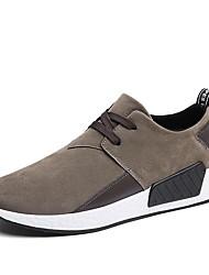 baratos -Homens sapatos Camurça / Tule / Courino Primavera Conforto / Solados com Luzes Tênis Preto / Cinzento / Marron / Corrida