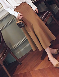 cheap -Women's Daily Knee-length Skirts,Vintage Pencil Cashmere Cotton Solid Winter Fall/Autumn