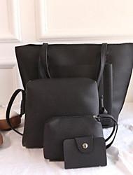 preiswerte -Damen Taschen PU Bag Set 4 Stück Geldbörse Set Reißverschluss für Normal Draussen Winter Schwarz Rote Rosa Grau Braun