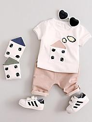 Dijete Djevojčice Pamuk Prugasti uzorak Dnevno Ljeto Kratki rukav Komplet odjeće Jednostavan Blushing Pink