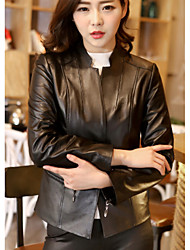 cheap -Women's Holiday Going out Casual Winter Leather Jacket,Solid Stand Long Sleeve Regular Lambskin