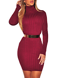 cheap -Daily Going out Casual Street chic Sheath DressSolid Crew Neck Mini Long Sleeve Polyester Spring Fall High Waist Micro-elastic Opaque