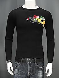 Недорогие -Для мужчин Повседневные Короткий Пуловер Однотонный С принтом,Круглый вырез Длинные рукава Смесь шерсти Зима Осень Толстая strenchy