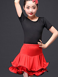 cheap -Latin Dance Outfits Performance Nylon Ruching Short Sleeve High Skirts Top