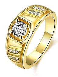 cheap -Men's Band Rings Cubic Zirconia Classic Rose Gold Gold Plated Geometric Jewelry Daily Evening Party