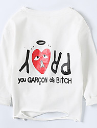 cheap -Baby Girls' Daily Word Graphic Tee Ordinary Long Sleeves White Black