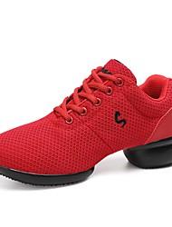 preiswerte -Unisex Tanz-Turnschuh Tüll Sneaker Farbaufsatz Geteilte Sohle Rot Maßfertigung