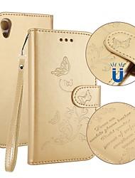 Недорогие -Кейс для Назначение Sony Xperia XA1 Бумажник для карт Кошелек со стендом Флип Рельефный Чехол Бабочка Твердый Кожа PU для Sony Xperia XA1