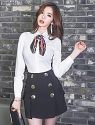 cheap -Women's Daily Work Casual Summer Blouse Skirt Suits,Print Shirt Collar Long Sleeve Polyester