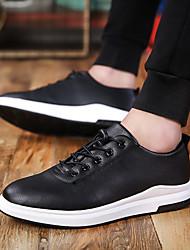 baratos -Homens sapatos Couro Ecológico Primavera Outono Conforto Sapatos de Barco Caminhada Cadarço para Casual Preto Vermelho Azul