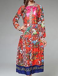 cheap -Women's Party Holiday Vintage Sheath Dress,Floral Print Shirt Collar Midi Long Sleeve Polyester Fall High Rise Micro-elastic Thin