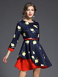 cheap -SHE IN SUN Women's Work A Line Dress Print