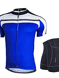 cheap -Nuckily Men's Short Sleeves Cycling Jersey with Shorts - Yellow Blue Geometic Bike Clothing Suits, Anatomic Design, Breathable,