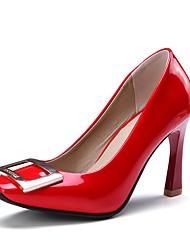 preiswerte -Damen Schuhe Kunstleder Frühling Herbst Pumps High Heels Keilabsatz Quadratischer Zeh für Party & Festivität Büro & Karriere Weiß Schwarz