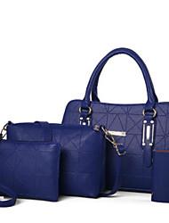 baratos -Mulheres Bolsas PU Conjuntos de saco Conjunto de bolsa de 4 pcs Ziper Vermelho / Rosa / Bege