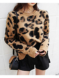 cheap -Women's Daily Regular Pullover,Leopard Round Neck Long Sleeves Polyester All Season Thin Micro-elastic