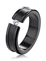 cheap -Men's Women's Band Rings Cubic Zirconia Classic Sweet Stainless Steel Zircon Jewelry Wedding Party
