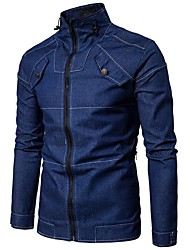 cheap -Men's Cotton / Denim Jacket - Solid Colored / Please choose one size larger according to your normal size. / Long Sleeve
